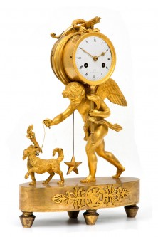 Mantel Clock With Cupid And Dog