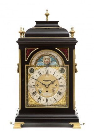 English Ebonised Musical Table Clock Rimbault 1750