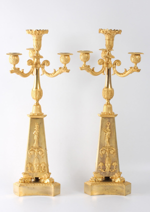 A Pair Of Large French Empire Ormolu 4-light Candelabra, Circa 1810