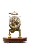 English Brass Skeleton Clock Striking Balance Dent 1840