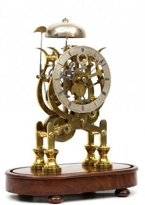 An English Brass Lyre-shaped Skeleton Clock, Dent's, Circa 1850