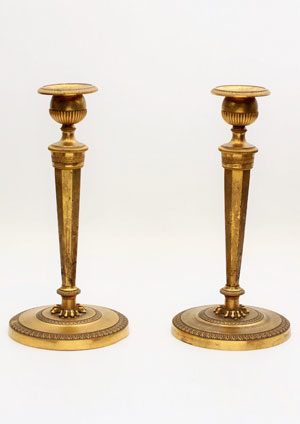 A Pair French Empire Fire-gilt Candlesticks, Circa 1800