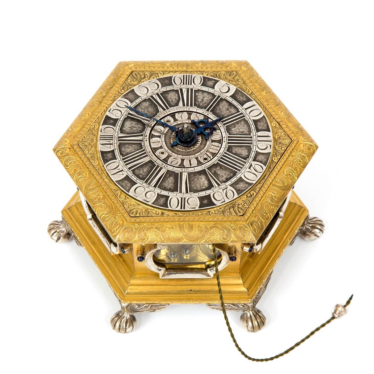 German Horizontal Hexagonal Table Clock Kriedel 1760