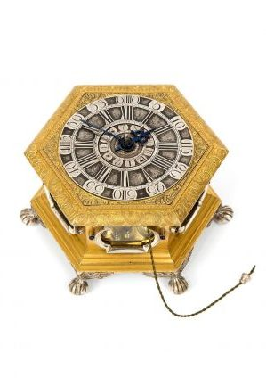 A German Gilt And Silvered Hexagonal Table Clock, J.G. Kriedel Cottbus,1760