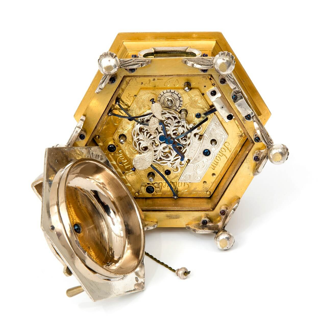 German horizontal hexagonal table clock Kriedel 1760