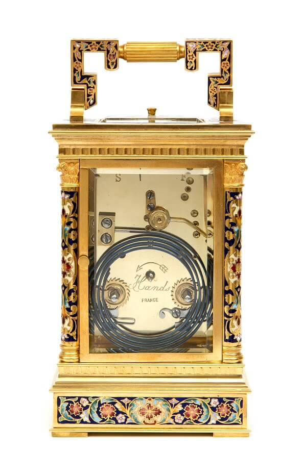 French gilt cloisonné enamel repeater carriage clock 1890