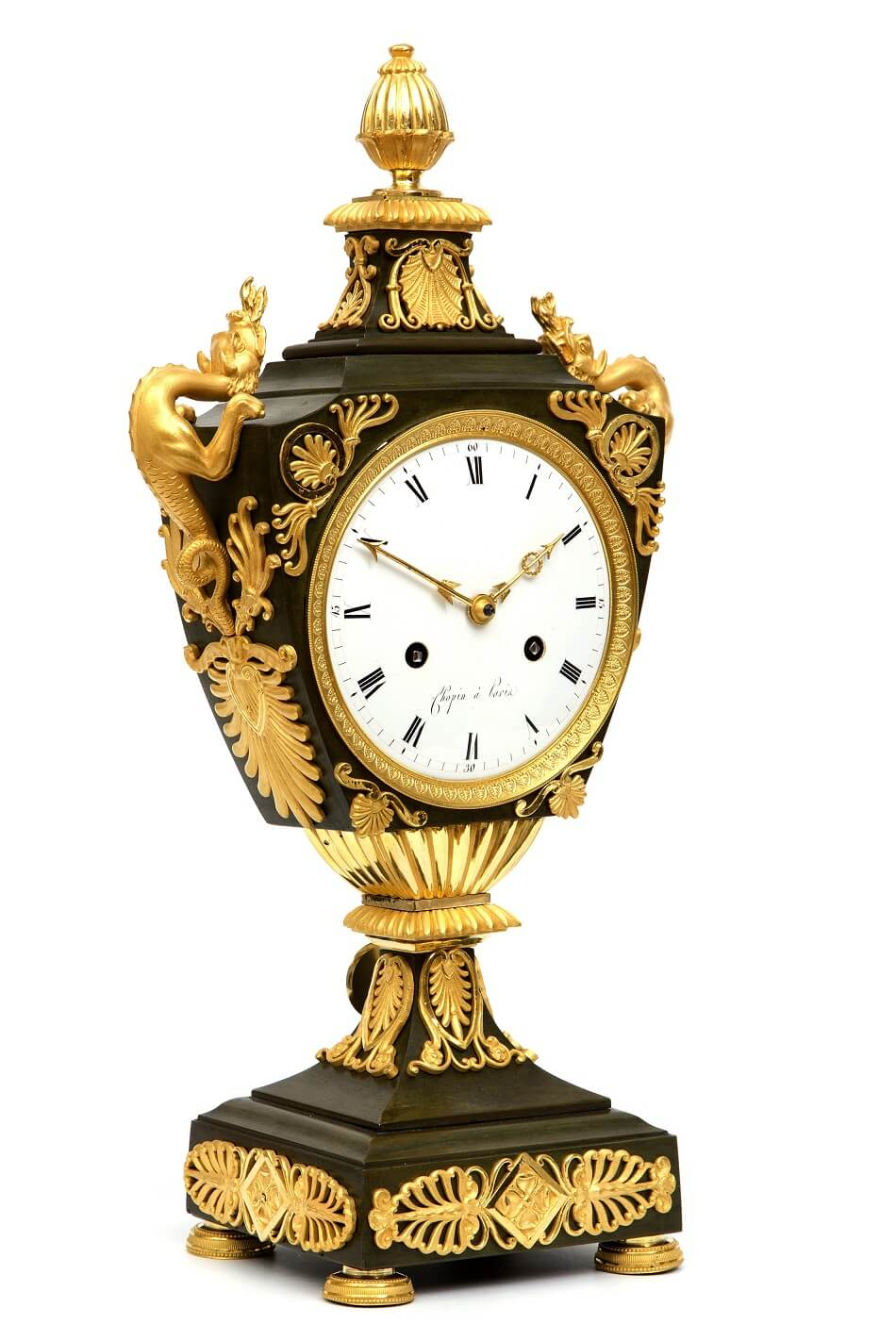 French Empire Ormolu Bronze Urn Clock Dragons 1800