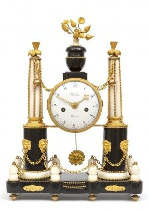 A French Louis XVI Marble And Ormolu Mantel Clock, Baudin Circa 1770