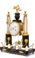 French Louis XVI Marble Portico Clock Baudin 1770