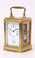 French Gilt Canele Carriage Clock Repeater Alarm Circa 1890