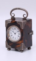 English Tortoiseshell Miniature Silver Carriage Clock