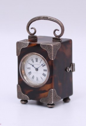 An English Tortoiseshell And Silver Carriage Timepiece, Circa 1901