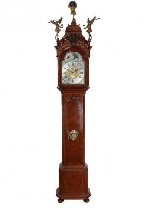 A Dutch Burr Walnut Longcase Clock By L. Du Chesne, Circa 1740