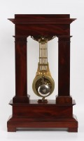 French Empire Mahogany Ormolu Oscillating Portico Clock 1825