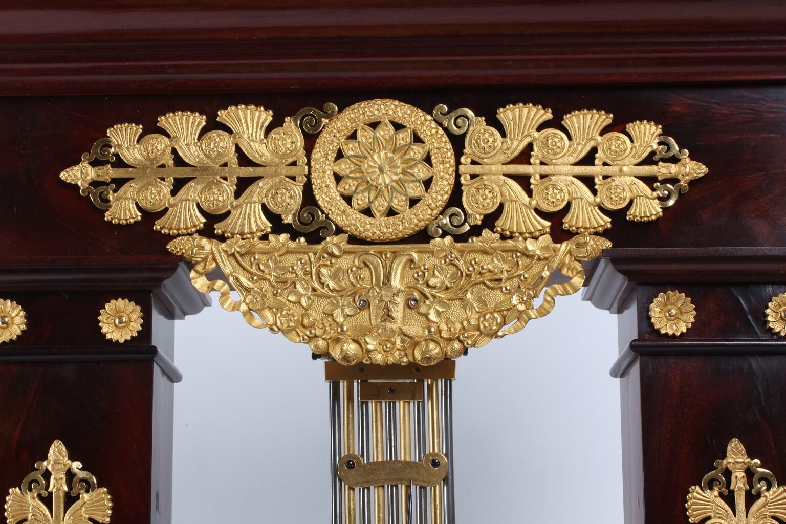 French Empire mahogany ormolu oscillating portico clock 1825
