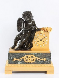 French Charles X ormolu gilt marble mantel clock 1825