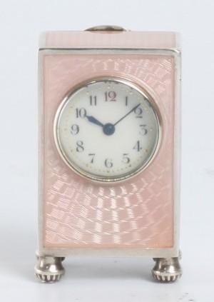 A Miniature Swiss Silver Guilloche Enamel Timepiece, Circa 1900.