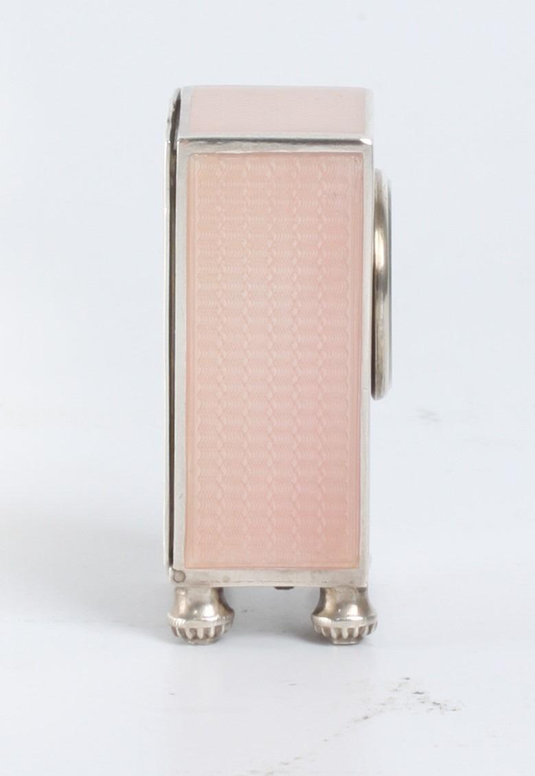Swiss Miniature Silver Guilloche Enamel Timepiece 1900