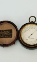 English Gilt Pocket Barometer Brown Glasgow 1890