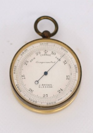 Een Schotse Verguld Messing Zakbarometer, J. Brown Glasgow, Circa 1890