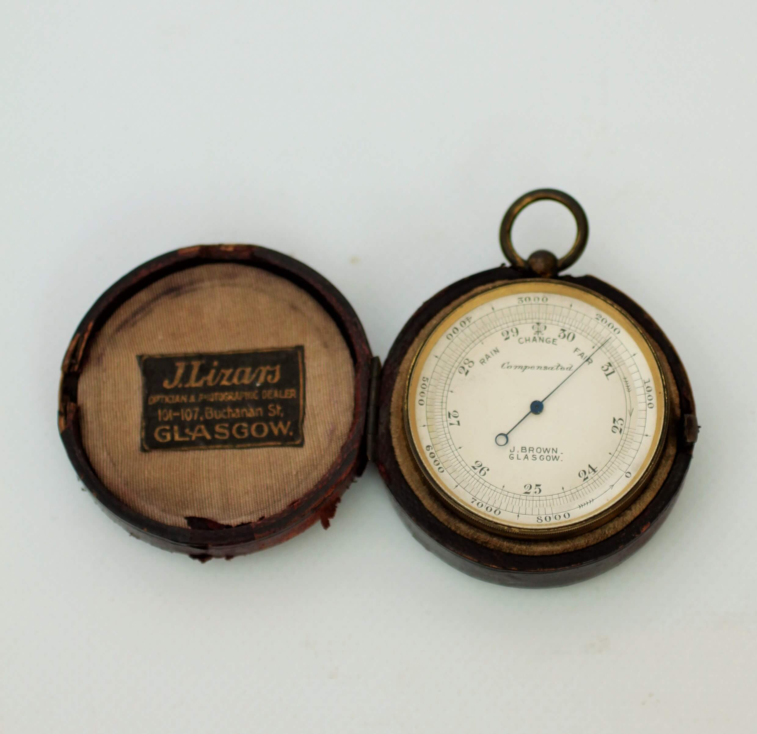 English Gilt Pocket Barometer Brown Glasgow 1890