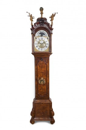 A Dutch Burr Walnut Musical Longcase Clock, Circa 1740