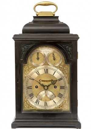 A Small English Ebonised Table Clock, James Wittit London, Circa 1740