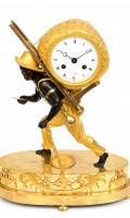 French Empire Ormolu Bon Sauvage Mantel Clock 1800