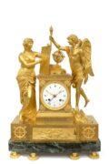 French Empire Ormolu Mantel Clock Genie&Imagination 1800