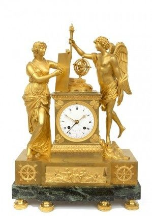 A Large French Empire Mantel Clock 'Genie Et Imagination', Clodion Circa 1810
