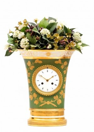 A French Empire Sevres Porcelain Urn Mantel Clock, Circa 1800