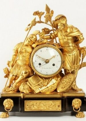 A French Louis XVI Mantel Clock With Hannibal And Hasdrubal, Circa 1770