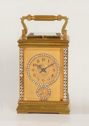 A French Brass Set Anglaise Carriage Clock With Alarm, Circa 1900.