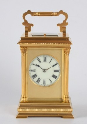 A French Gilt Anglaise Case Carriage Clock, Henri Jacot, Circa 1880.