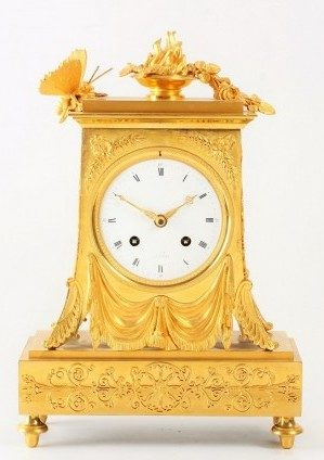 A French Empire Ormolu Mantel Clock With Butterfly, Circa 1800