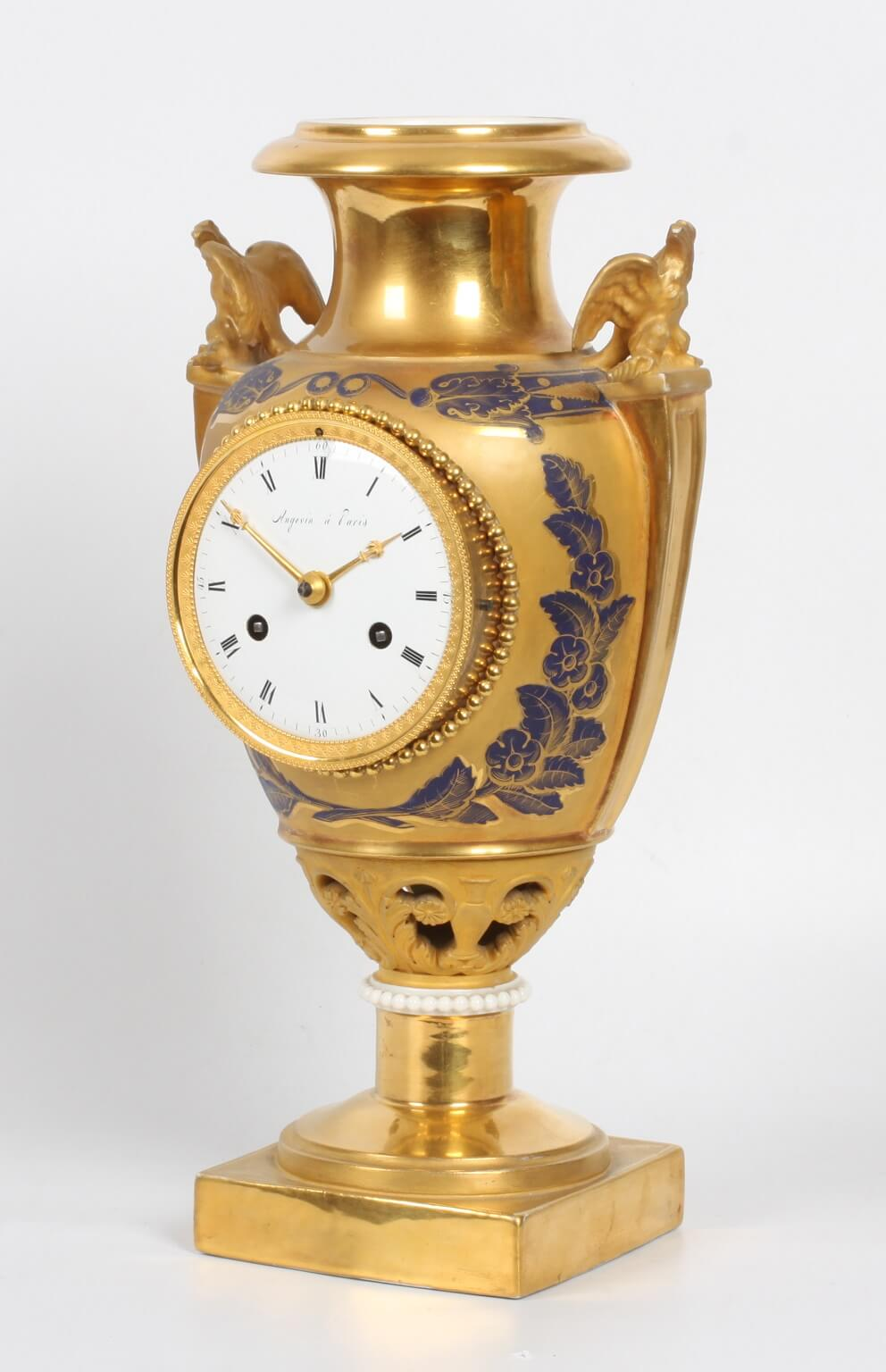 French Empire Porcelain Mantel Clock Sevres Angevin 1800