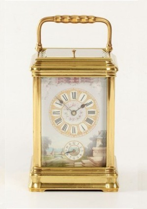 A French Porcelain Mounted Gilt Carriage Clock,circa 1880