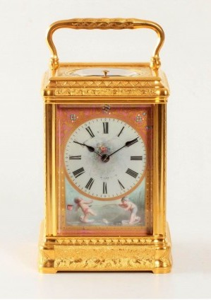 French Gorge Carriage Clock Porcelain Drocourt 1880