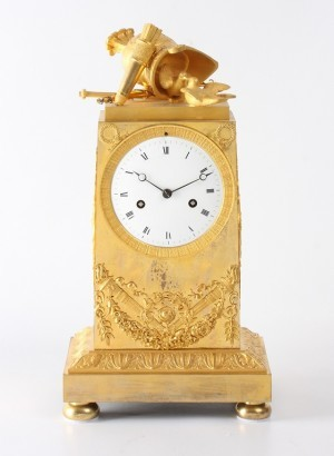 A French Empire Ormolu Mantel Clock 'War And Peace', Circa 1800.