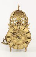 French Brass Lantern Alarm Wall Clock Lefebure 1720