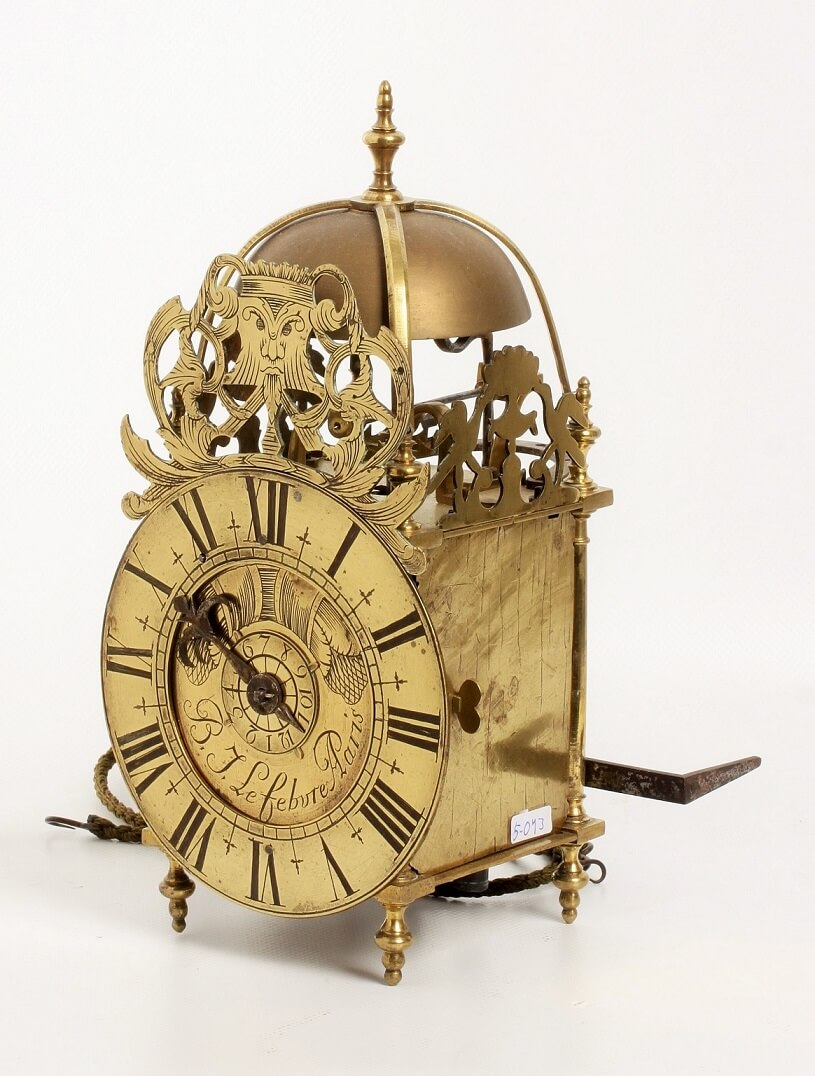French Brass Lantern Alarm Wall Clock Lefebure 1720