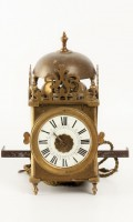 French Miniature Lantern Wall Clock Enamel 1750
