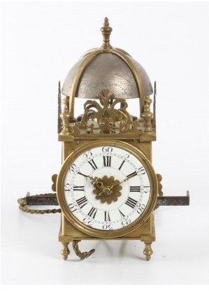 A Miniature French Brass Alarm Lantern Wall Timepiece, Circa 1740