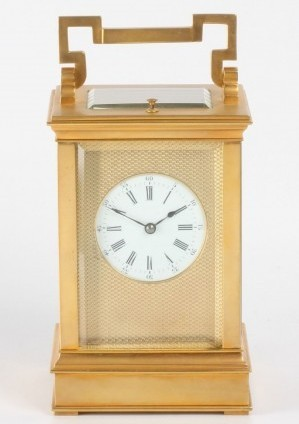 A French Gilt Brass Anglaise Carriage Clock With Repeat, Circa 1880.