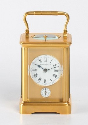 A Small French Gilt Quarter Striking Carriage Clock, Margaine, Circa 1900