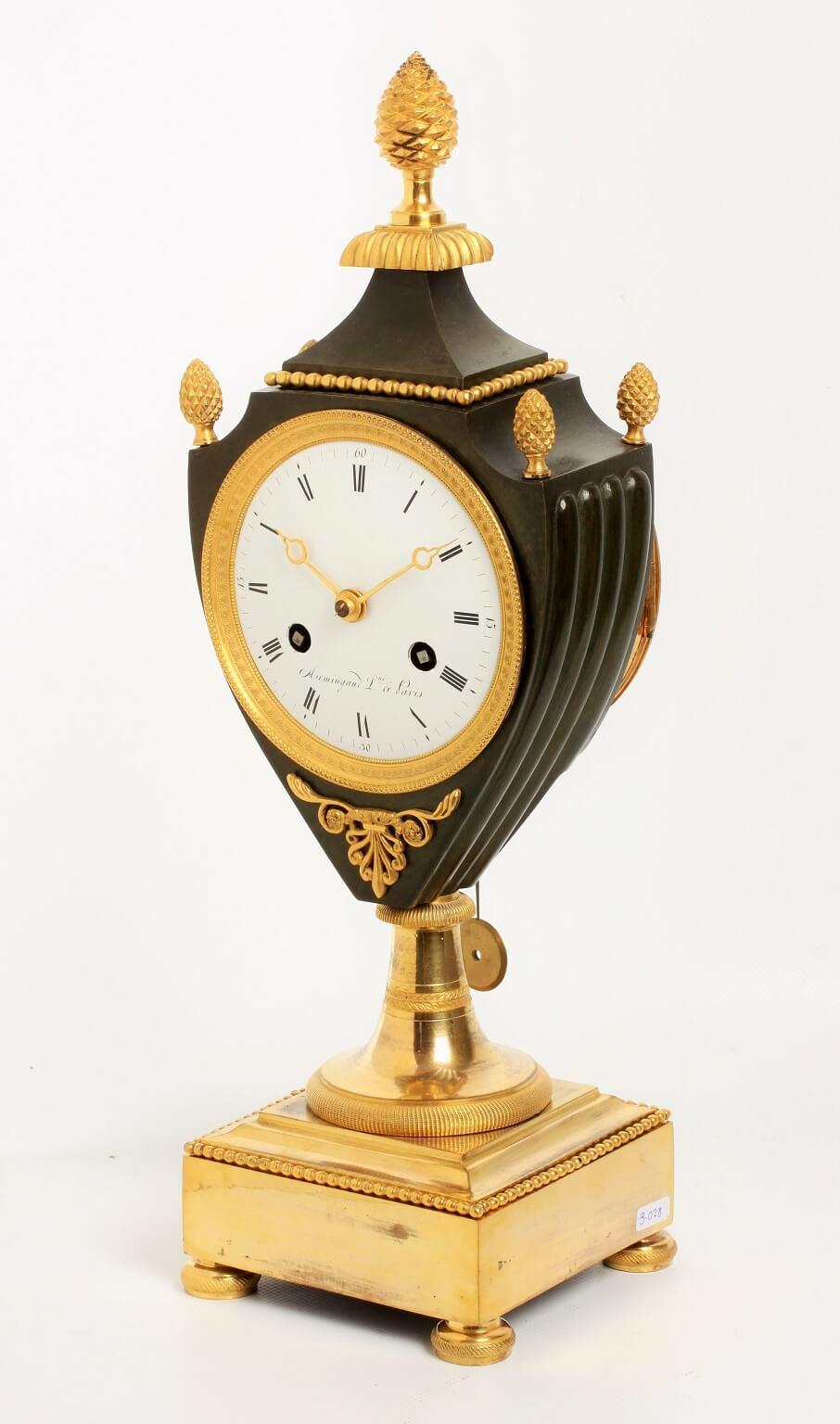 French Empire Ormolu Bronze Urn Clock Armingaud 1800