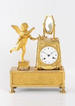 A French Empire Ormolu Sculptural Mantel Clock, Circa 1810