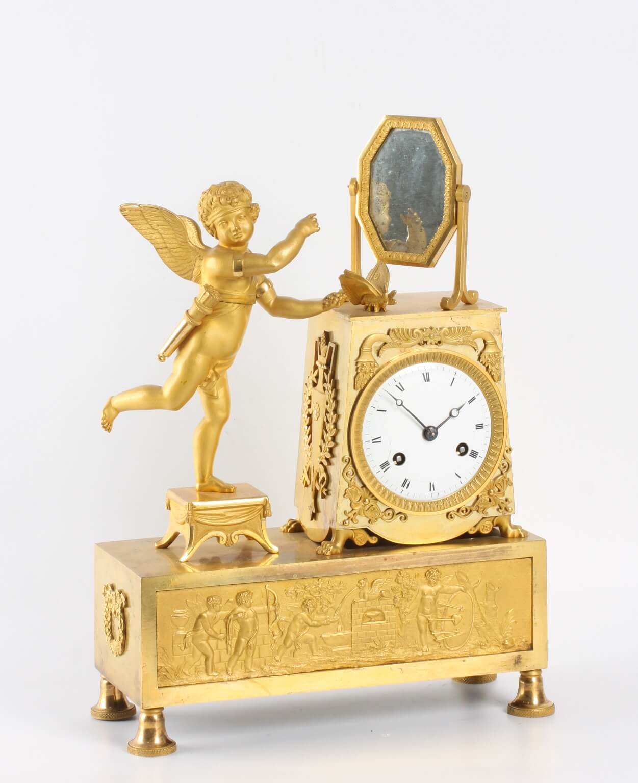 French Empire ormolu mantel clock Cupid 1800