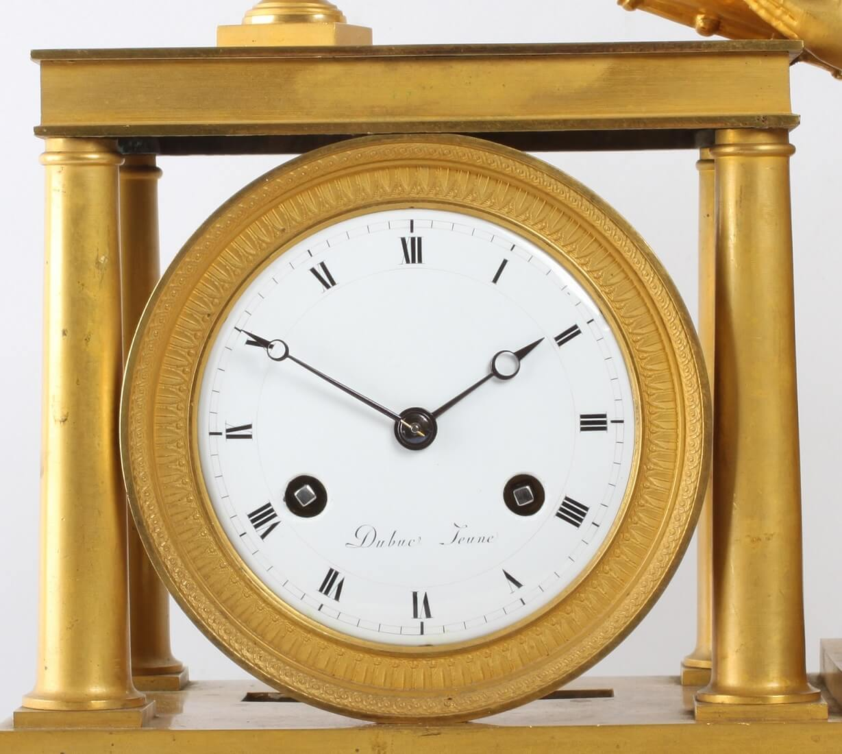 French Empire Ormolu Griotte Rouge Mantel Clock Sappho 1800
