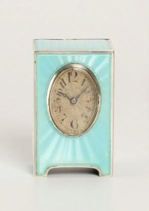 A Miniature Swiss Silver Guilloche  Enamel Timepiece, Circa 1900